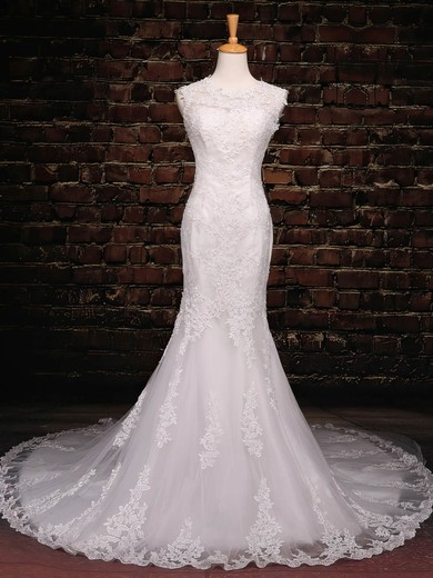 Trumpet/Mermaid Scoop Neck Court Train Tulle with Sequins Wedding Dresses #PDS00023042