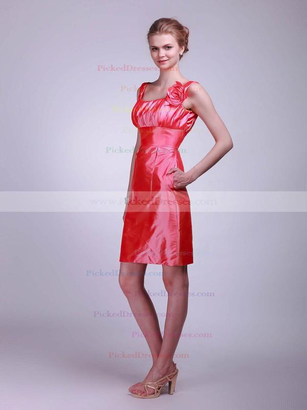 Taffeta Sheath/Column Square Short/Mini Flower(s) Bridesmaid Dresses #PDS02013623