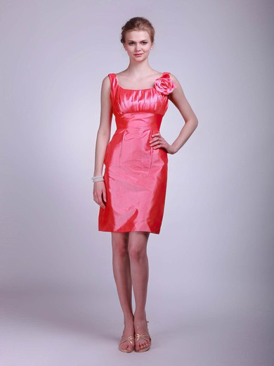 Taffeta Sheath/Column Square Short/Mini Flower(s) Bridesmaid Dresses #PDS02013623