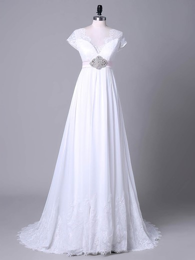 Empire V-neck Sweep Train Tulle Chiffon with Sashes / Ribbons Wedding Dresses #PDS00023045