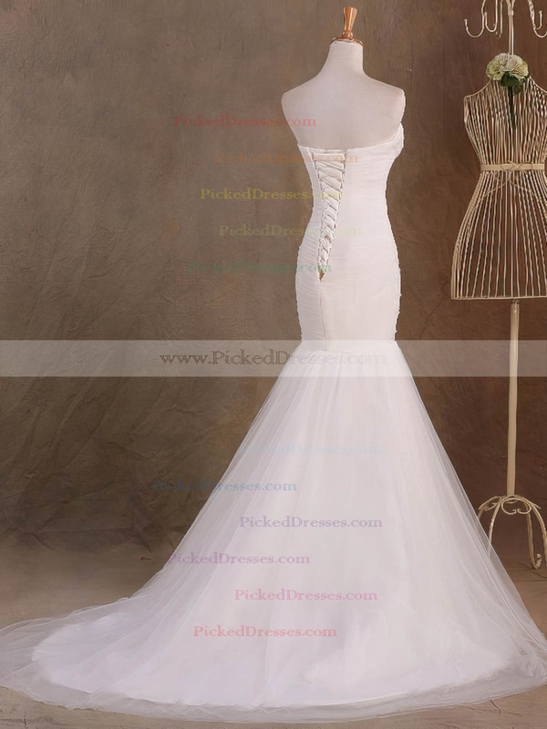 Trumpet/Mermaid Sweetheart Sweep Train Tulle with Ruffles Wedding Dresses #PDS00023046