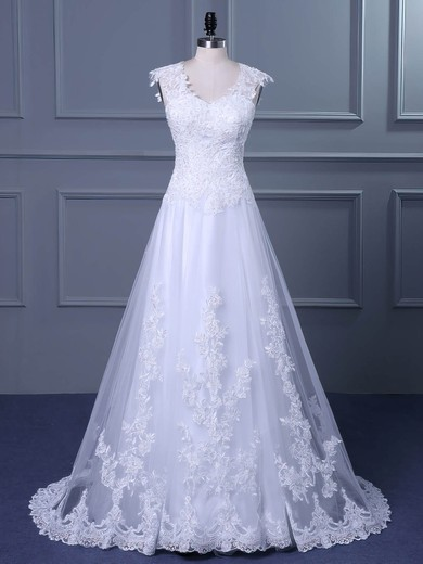 Princess V-neck Sweep Train Tulle with Appliques Lace Wedding Dresses #PDS00023047