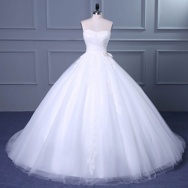 Ball Gown Sweetheart Court Train Tulle with Appliques Lace Wedding Dresses #PDS00023048