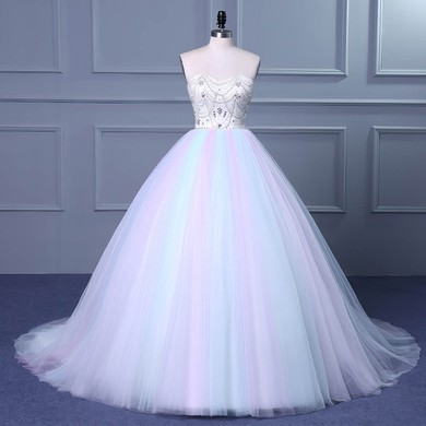 Ball Gown Sweetheart Court Train Tulle with Beading Wedding Dresses #PDS00023049