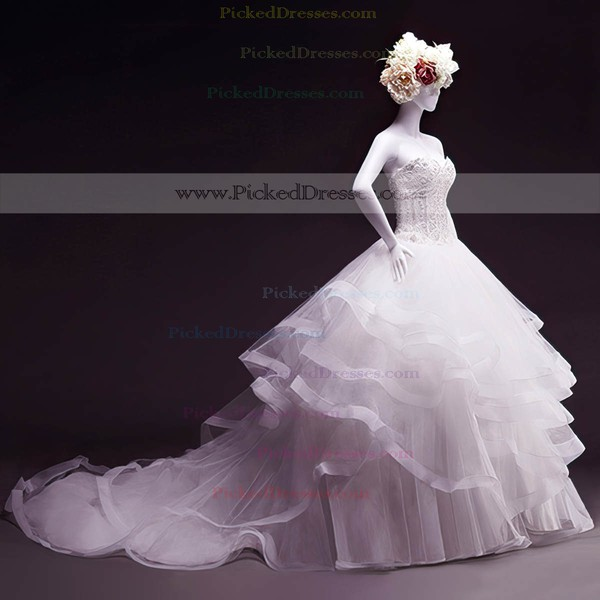 Ball Gown Sweetheart Court Train Tulle with Beading Wedding Dresses #PDS00023050