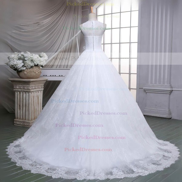 Ball Gown Scoop Neck Sweep Train Lace with Sashes / Ribbons Wedding Dresses #PDS00023051