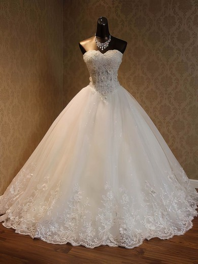 Ball Gown Sweetheart Floor-length Organza with Beading Wedding Dresses #PDS00023052
