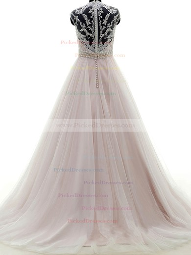 Ball Gown V-neck Sweep Train Tulle with Appliques Lace Wedding Dresses #PDS00023053