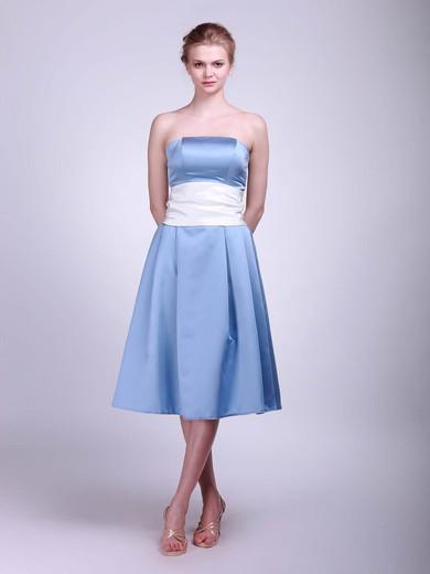 Satin A-line Strapless Tea-length Sashes/Ribbons Bridesmaid Dresses #PDS02013624