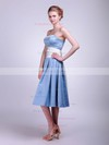 Satin A-line Strapless Tea-length Sashes/Ribbons Bridesmaid Dresses #PDS02013624