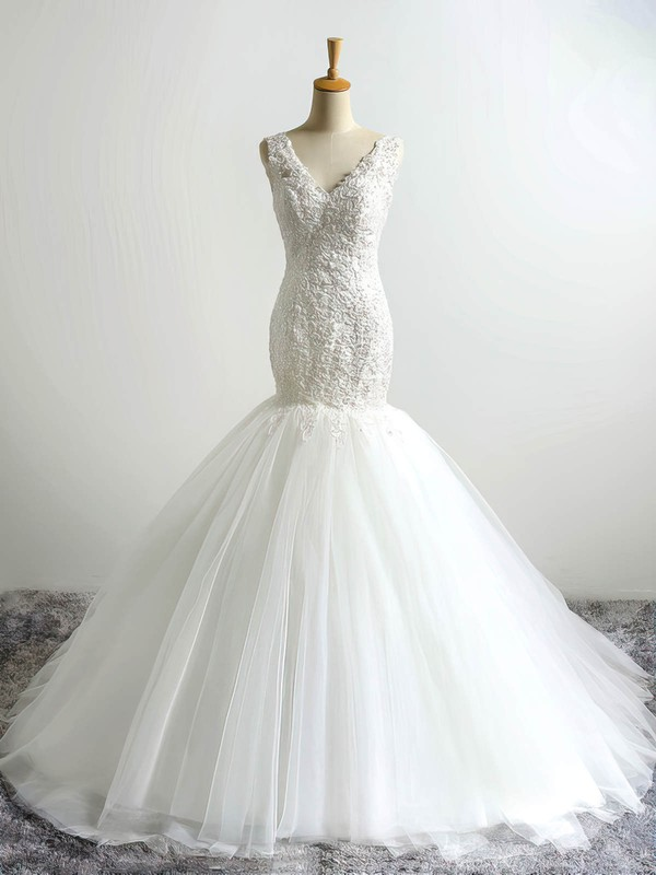 Trumpet/Mermaid V-neck Court Train Tulle with Appliques Lace Wedding Dresses #PDS00023054