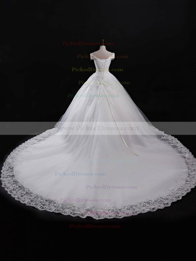 Ball Gown V-neck Chapel Train Tulle with Appliques Lace Wedding Dresses #PDS00023055