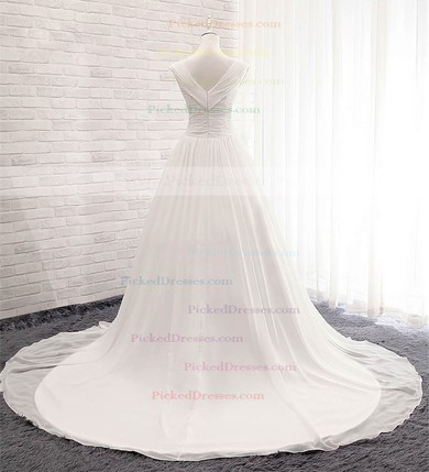 Ball Gown V-neck Court Train Chiffon with Ruffles Wedding Dresses #PDS00023056