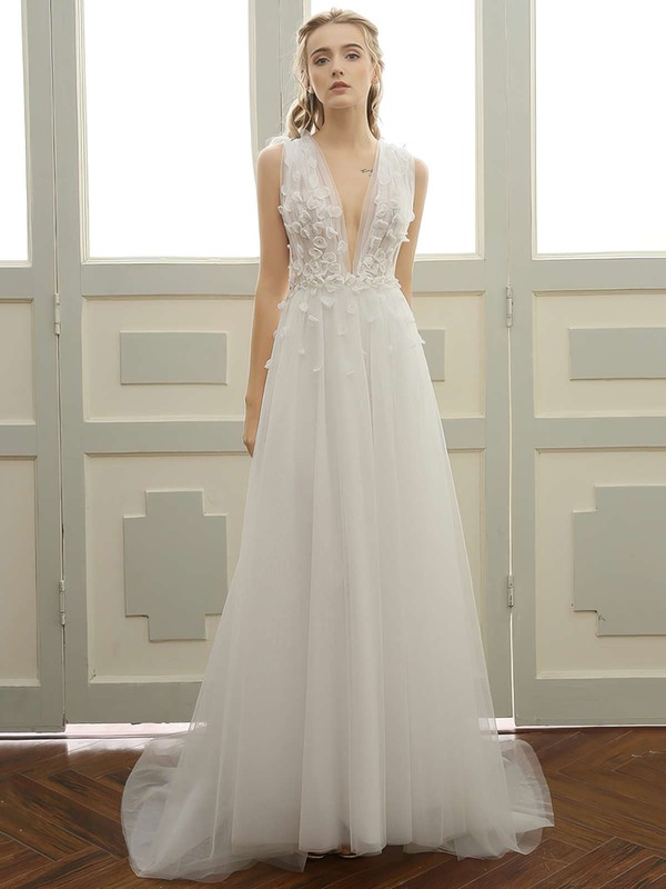 A-line V-neck Sweep Train Tulle with Lace Wedding Dresses #PDS00023057