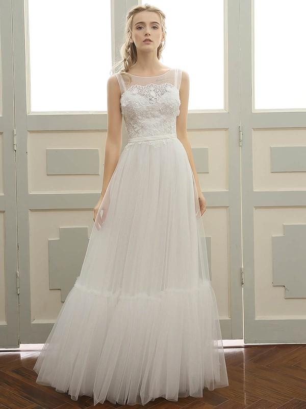 A-line Scoop Neck Floor-length Tulle with Sashes / Ribbons Wedding Dresses #PDS00023058
