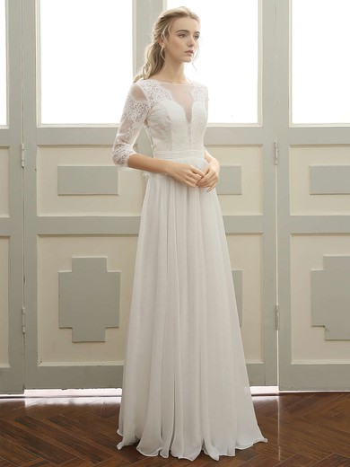 A-line Scoop Neck Floor-length Tulle Chiffon with Appliques Lace Wedding Dresses #PDS00023059