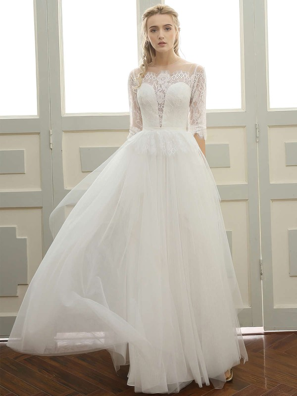 A-line Scoop Neck Floor-length Tulle with Sashes / Ribbons Wedding Dresses #PDS00023060