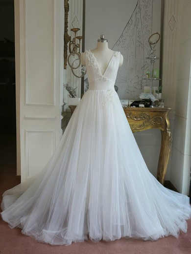 Ball Gown V-neck Sweep Train Tulle with Appliques Lace Wedding Dresses #PDS00023062