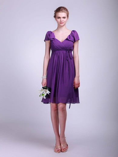 Chiffon A-line V-neck Knee-length Sashes/Ribbons Bridesmaid Dresses #PDS02013627