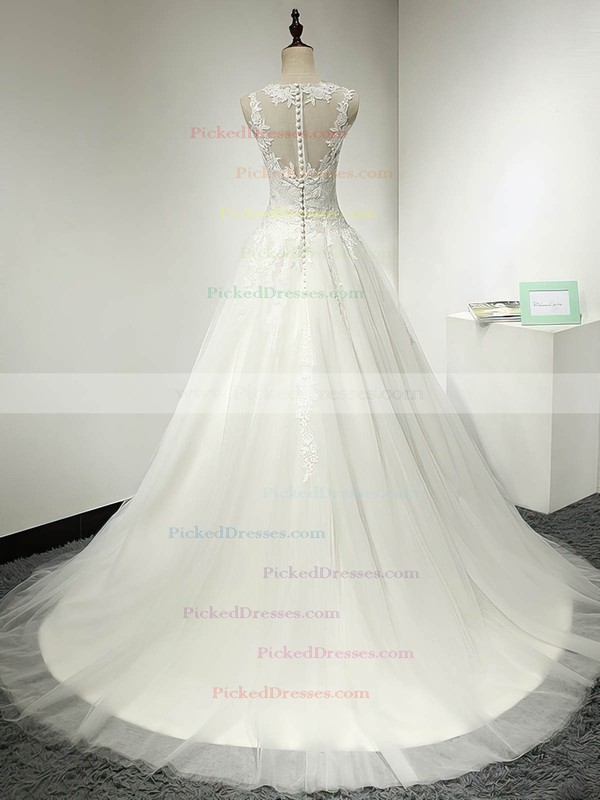 Ball Gown Scoop Neck Sweep Train Tulle with Appliques Lace Wedding Dresses #PDS00023064