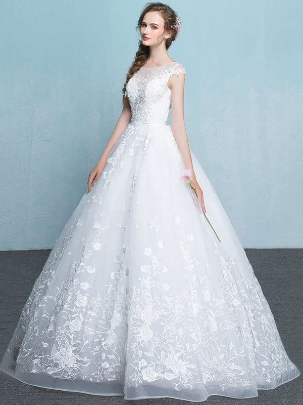 Ball Gown Scoop Neck Floor-length Organza with Appliques Lace Wedding Dresses #PDS00023065
