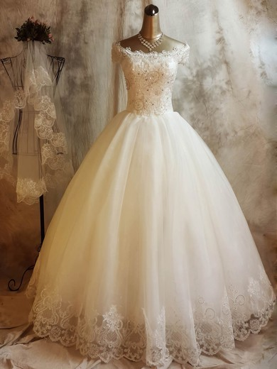 Ball Gown Off-the-shoulder Floor-length Tulle with Beading Wedding Dresses #PDS00023068