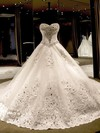 Ball Gown Sweetheart Cathedral Train Tulle with Appliques Lace Wedding Dresses #PDS00023069