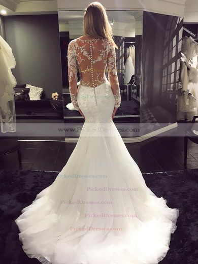 Trumpet/Mermaid Scoop Neck Sweep Train Tulle with Appliques Lace Wedding Dresses #PDS00023070