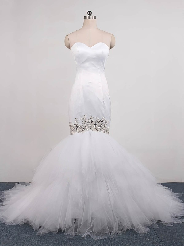 Trumpet/Mermaid Sweetheart Sweep Train Tulle with Beading Wedding Dresses #PDS00023071