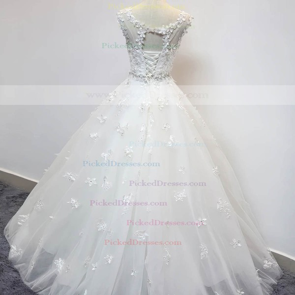 Ball Gown Scoop Neck Floor-length Tulle with Beading Wedding Dresses #PDS00023072