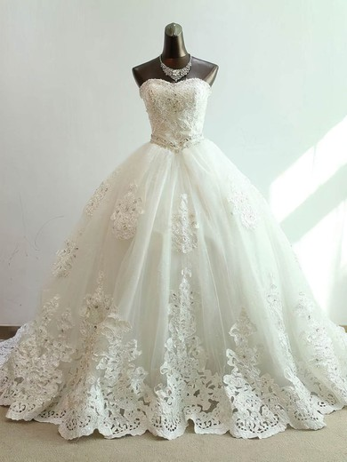 Ball Gown Sweetheart Chapel Train Tulle with Beading Wedding Dresses #PDS00023073