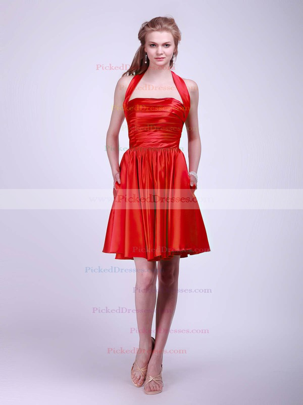 Satin BallGown Halter Short/Mini Pleats Bridesmaid Dresses #PDS02013628
