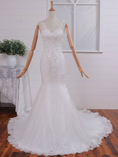 Trumpet/Mermaid V-neck Court Train Lace Tulle with Appliques Lace Wedding Dresses #PDS00023074