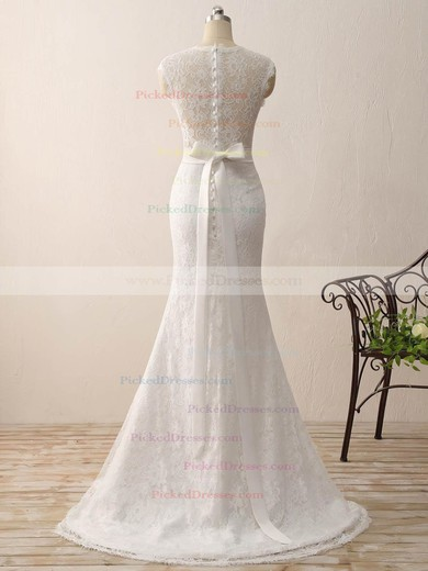 Trumpet/Mermaid V-neck Sweep Train Lace with Sashes / Ribbons Wedding Dresses #PDS00023075