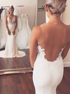 Trumpet/Mermaid Scoop Neck Sweep Train Tulle Silk-like Satin with Appliques Lace Wedding Dresses #PDS00023076