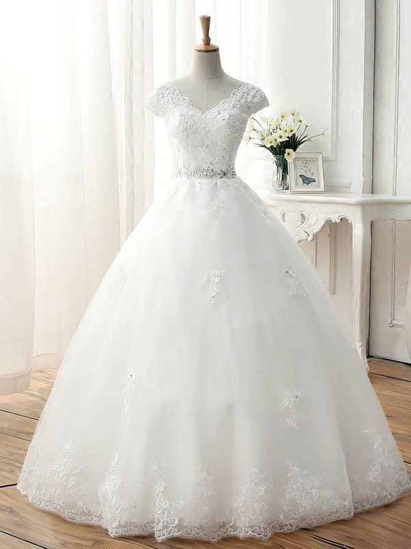 Ball Gown V-neck Floor-length Tulle with Beading Wedding Dresses #PDS00023077