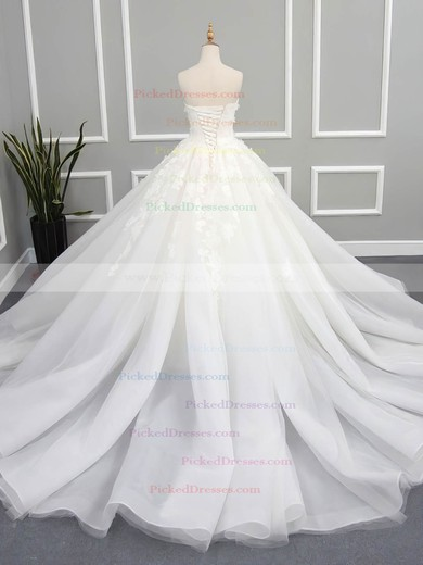 Ball Gown Strapless Chapel Train Organza Tulle with Appliques Lace Wedding Dresses #PDS00023078