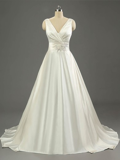 Ball Gown V-neck Sweep Train Satin with Ruffles Wedding Dresses #PDS00023079