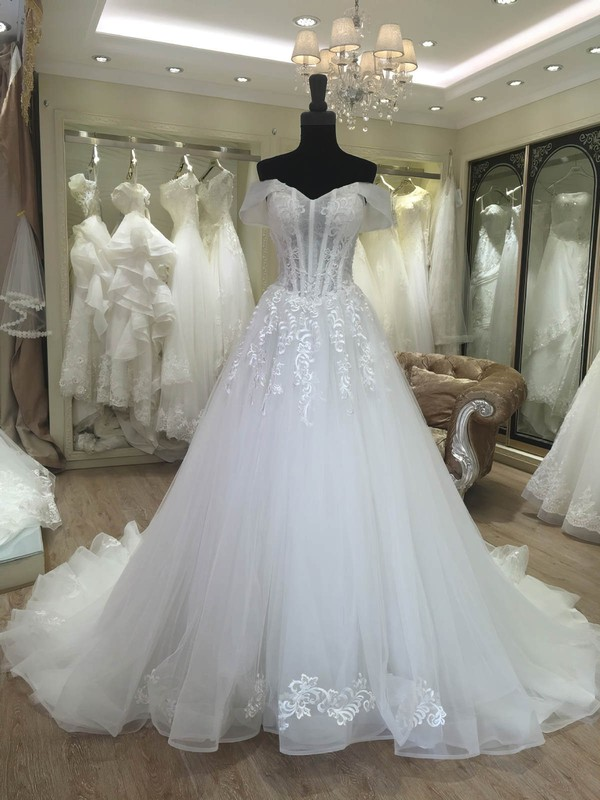 Ball Gown Off-the-shoulder Sweep Train Tulle with Appliques Lace Wedding Dresses #PDS00023080