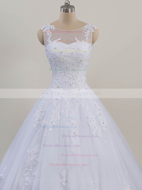Ball Gown Scoop Neck Sweep Train Tulle with Beading Wedding Dresses #PDS00023081