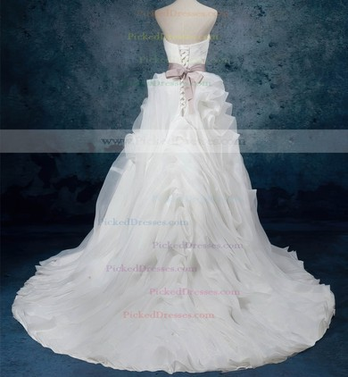 Ball Gown Sweetheart Court Train Organza with Sashes / Ribbons Wedding Dresses #PDS00023082