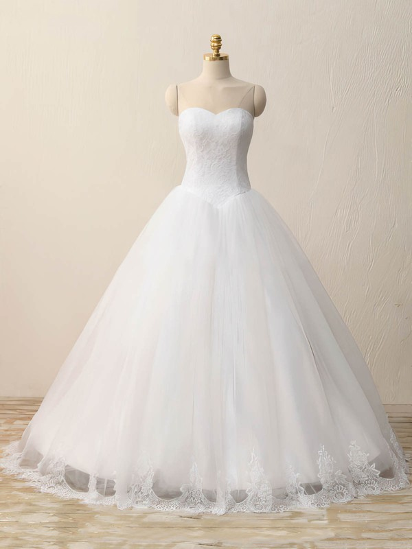 Ball Gown Sweetheart Floor-length Tulle Lace with Appliques Lace Wedding Dresses #PDS00023083