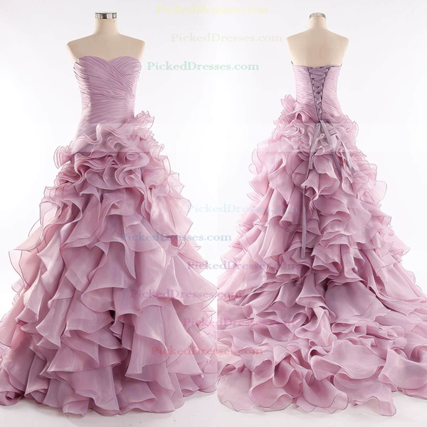 Princess Sweetheart Court Train Organza with Cascading Ruffles Wedding Dresses #PDS00023085