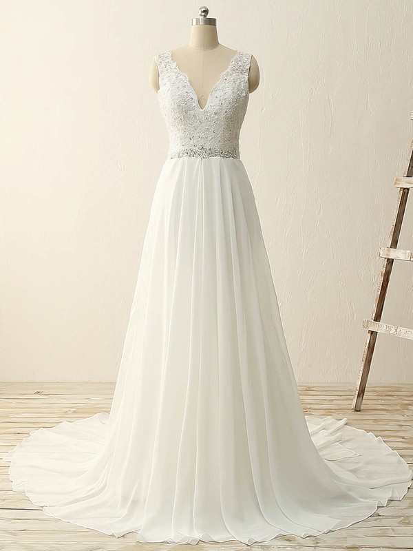 A-line V-neck Sweep Train Tulle Chiffon with Sequins Wedding Dresses #PDS00023086