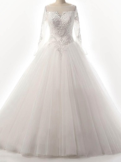 Ball Gown Scoop Neck Floor-length Tulle with Beading Wedding Dresses #PDS00023087