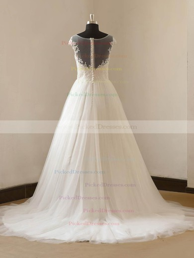 Princess Scoop Neck Sweep Train Tulle with Appliques Lace Wedding Dresses #PDS00023088