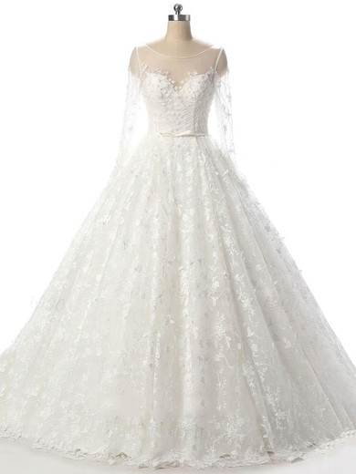 Ball Gown Scoop Neck Court Train Tulle with Beading Wedding Dresses #PDS00023089