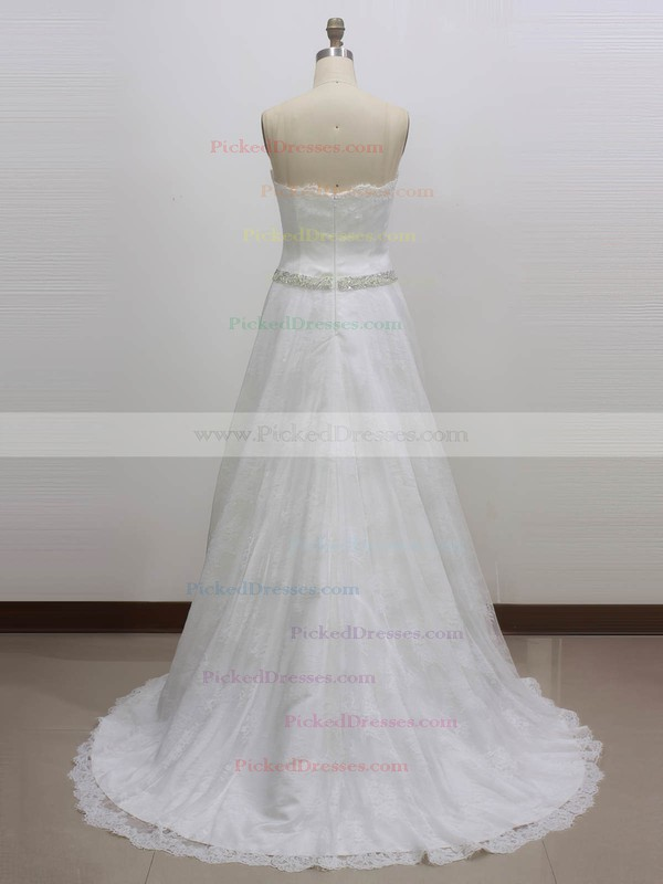Princess Sweetheart Sweep Train Lace with Sashes / Ribbons Wedding Dresses #PDS00023003