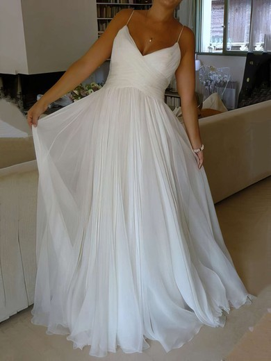 A-line V-neck Court Train Chiffon with Ruffles Wedding Dresses #PDS00023006
