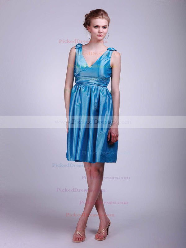 Taffeta A-line V-neck Short/Mini Pleats Bridesmaid Dresses #PDS02013631